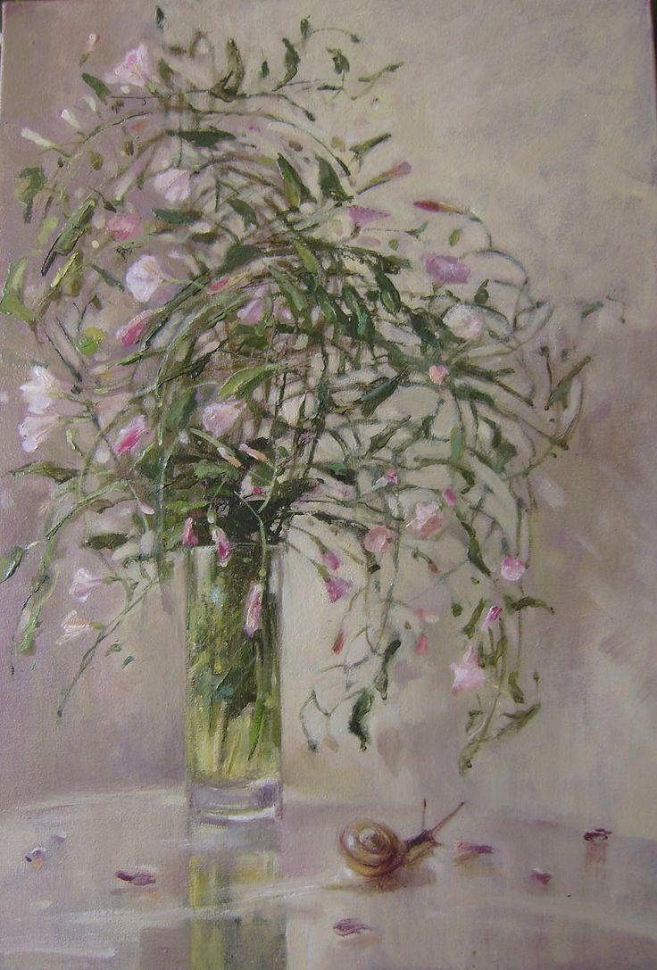 """Beata Anna Topolińska, """"Powoje"""", olej na płótnie,  54 x 38 cm"""
