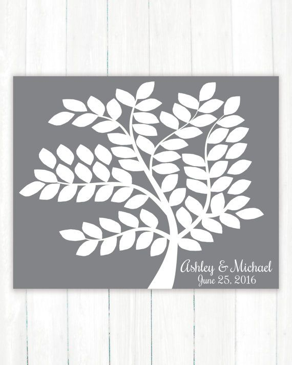Wedding Guest Book Alternative - Wedding Guestbook Art Print - Tree Wedding Guest Book Poster-75 Guests Sign In-Unique Bridal Shower Present