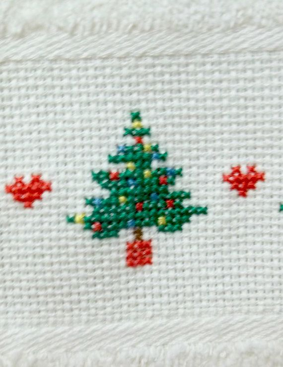 Christmas Trees Cross Stitched Fingertip Velour by luvinstitchin4u