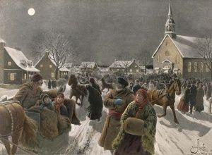 E.-J. Massicotte, Le retour de la messe de minuit, 1919.
