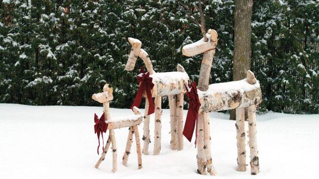 Rennes et/ou biches.  Décor de Noël. Fait en bouleau.                                                                                                                                                     Plus