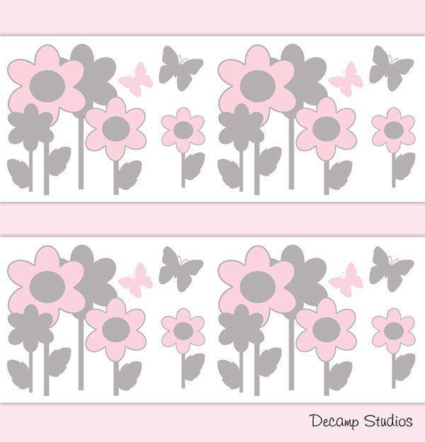 Floral Butterfly Wings Baby Girl Nursery Wallpaper Border Wall Art Decals Pink Gray Grey Flower Garden Kids Room Stickers Decor Vinilos Ninos Proyectos