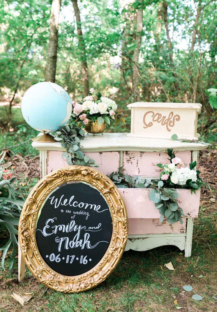 vintage blush wedding welcome table