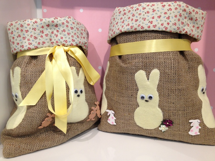 Hessian sacks with cotton print lining and appliqué bunnies.