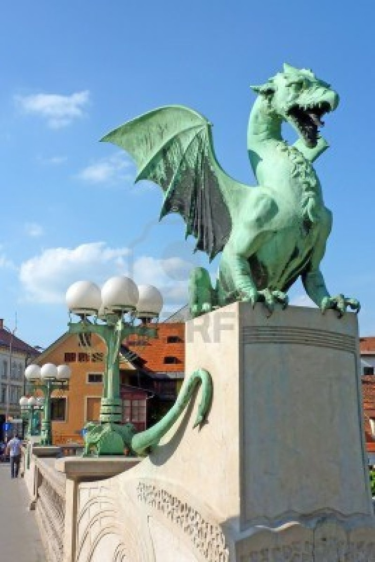 Dragon bridge, Ljubljana, Slovenia, Europe Stock Photo