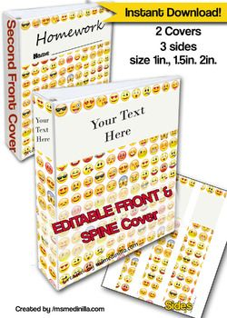 emoji binder cover editable file teacher binders student portfolio