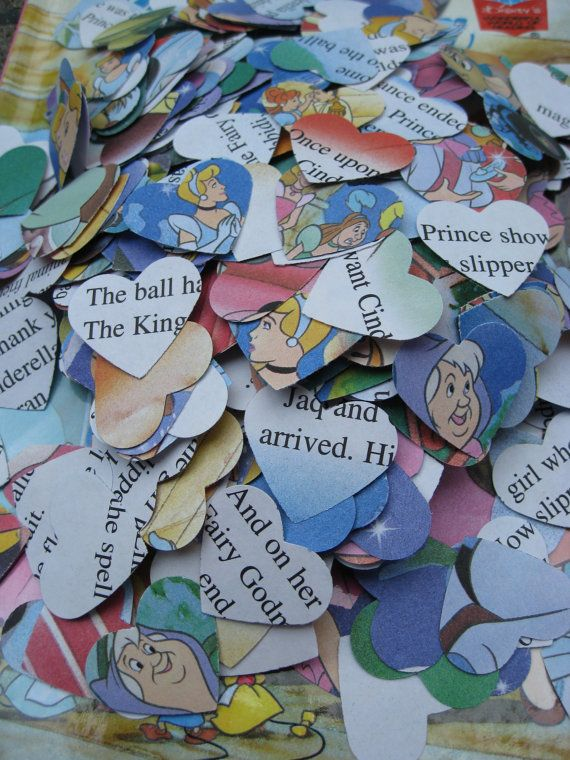 "1000 Vintage CINDERELLA Hearts. 1"" Confetti Hearts. Other Amounts Available. Custom Orders Welcome."