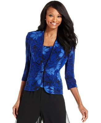 Alex Evenings Jacket and Top Set, Sleeveless Glitter Floral-Print Scoop-Neck
