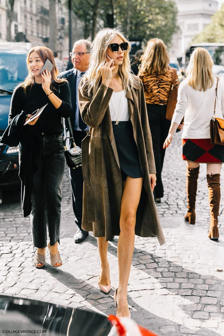 pair a mini skirt with a loang coat!