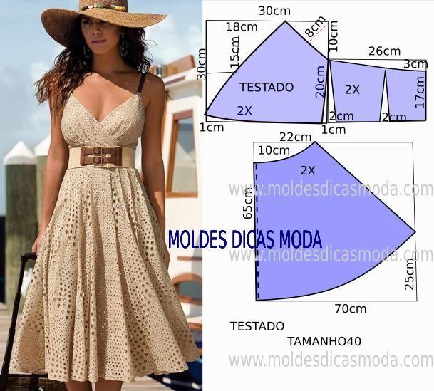 Passo a passo construção molde de vestido. O molde encontra-se no tamanho 40. A ilustração do molde de vestido não tem valor de costura.