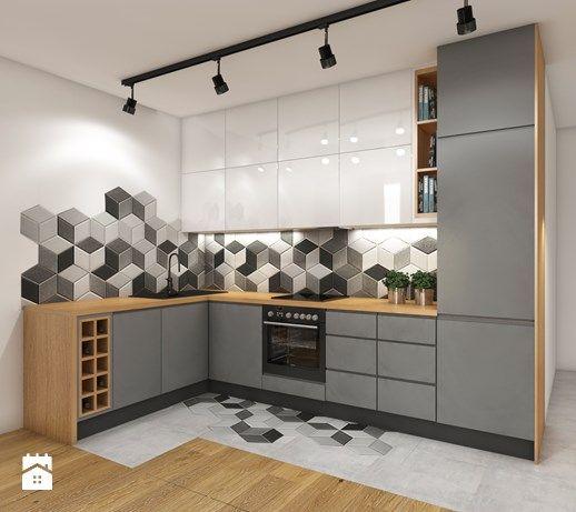 Aranżacje wnętrz - Kuchnia: Aneks kuchenny - Mała otwarta kuchnia w kształcie litery l, styl nowoczesny - Przestrzenie. Przeglądaj, dodawaj i zapisuj najlepsze zdjęcia, pomysły i inspiracje designerskie. W bazie mamy już prawie milion fotografii!
