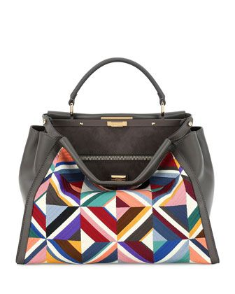 Large Quilted Geometric Peekaboo Satchel Bag, Gray by Fendi at Neiman Marcus.