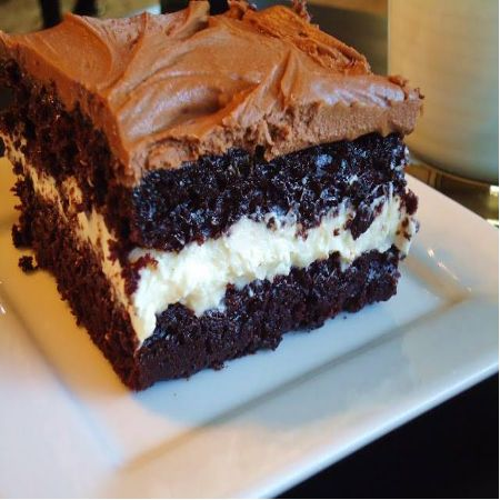 chocolate twinkie cake ....  1 box cake mix 1 can frosting filling: 5 tablespoons flour 1 cup milk 1/4 tsp salt 1 teaspoon vanilla 1 cup granulated sugar 1/2 cup shortening 1/2 cup margarine 1/2 tsp salt
