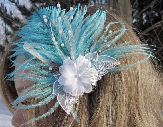 bloomer Fascinator Fan in Teal Ostrich Feather by SHOWYOURbloomers, $49.00