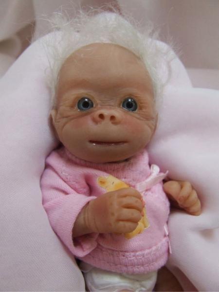 Baby Albino Gorilla Details About Ooak Baby Albino