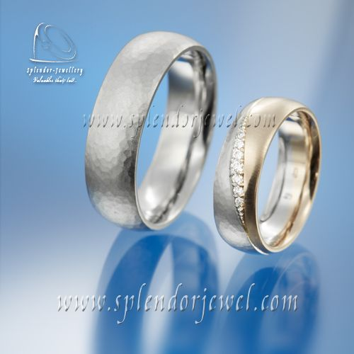 This is an example of a clean and elegant pair of wedding bands. These are platinum and gold wedding bands with briliant cut diamonds. Check more minimalist design wedding bands at www.splendrojewel.com