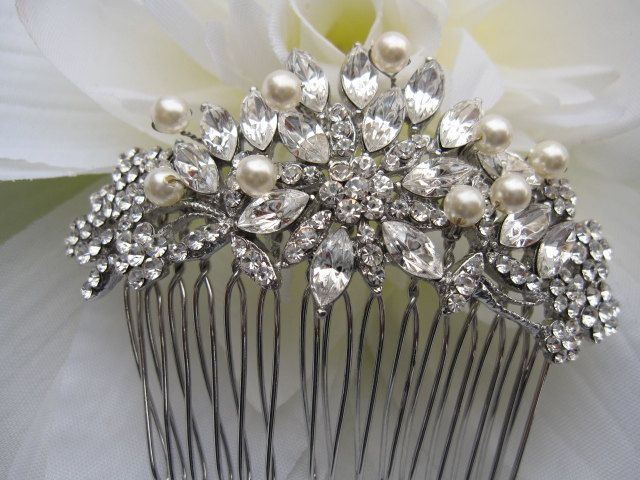 Vintage Inspired Pearls bridal hair comb,wedding hair comb,wedding hair accessories,pearl bridal comb,crystal wedding comb,bridal headpieces. $49.00, via Etsy.