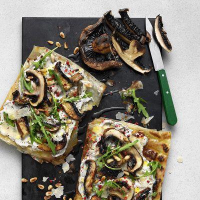 Grillad filodegspizza med portabellosvamp