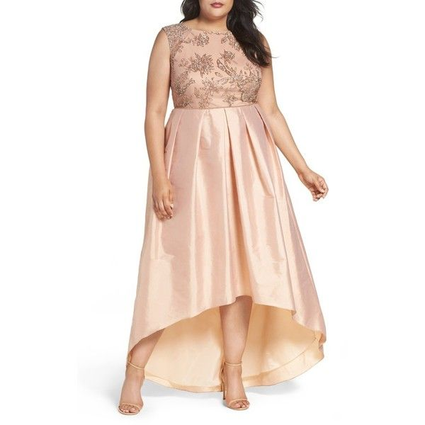 Plus Size Women's Adrianna Papell Embellished Bodice Gown ($369) ❤ liked on Polyvore featuring plus size women's fashion, plus size clothing, plus size dresses, plus size gowns, plus size, rose gold, beaded gown, plus size ball gowns, plus size evening gowns and beaded evening gowns