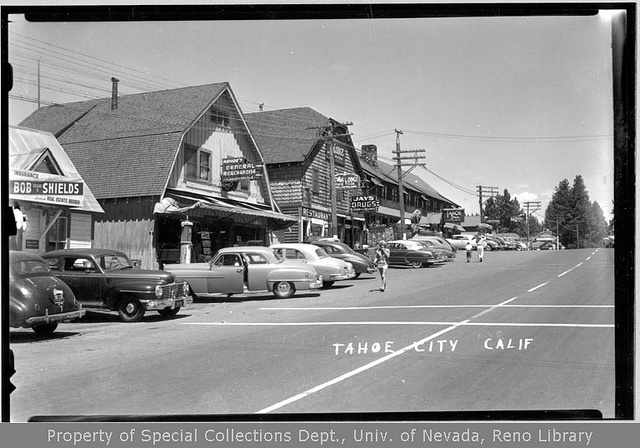 Vintage photography of Tahoe City, California circa 1945, so just about a year before the Tahoe Biltmore was established (1946)