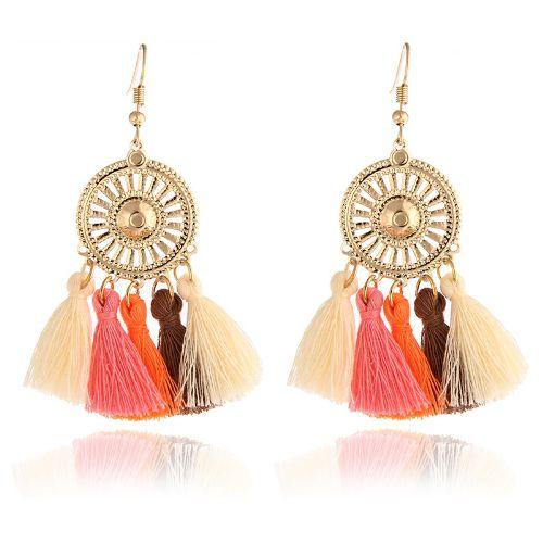 Tassel Boho Drop Long Earrings Multi Color