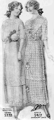 """Illustration of girls in """"lingerie dresses"""" from a 1910 catalog. These were marketed for young ladies preparing for high school graduation. Beautiful! [Note: """"Lingerie"""" dresses refer to gowns made from thin heirloom fabrics like voile and organdy, worn over intricate undergarments.]"""
