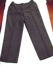 Marks & Spencers Trousers - Black with Dark Cream Windowpane Check 18 Short
