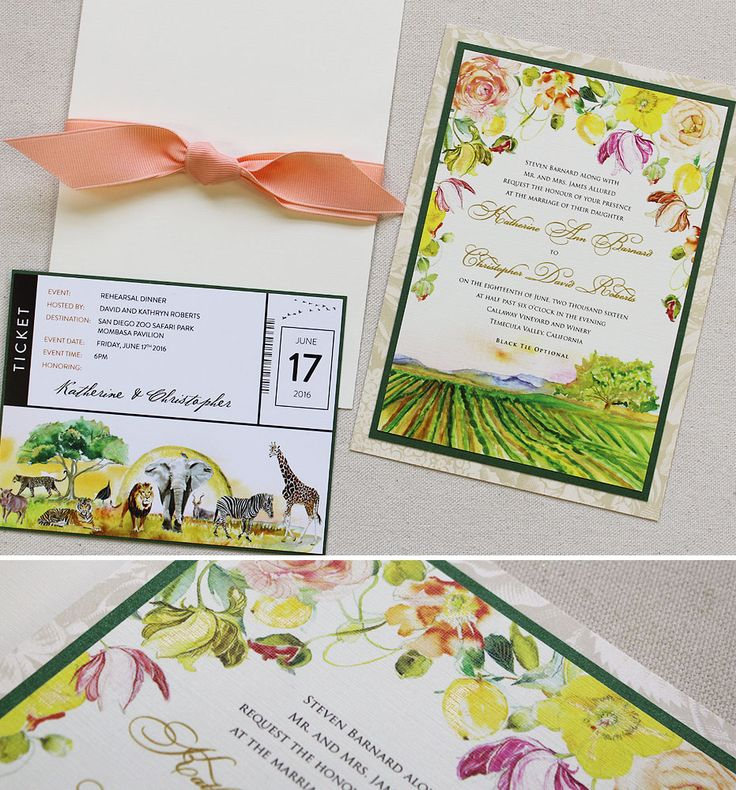 Katherine B.   Watercolor Floral And Landscape Wedding Invitation