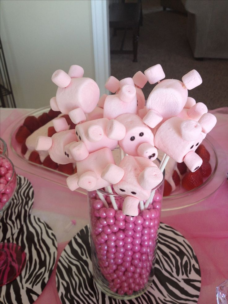 Marshmallow Pigs... I'll cut the small marshmallows in half for the nose and ears. Great for a peppa pig party or farm themed birthday party.