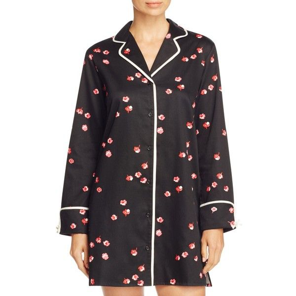 kate spade new york Small Falling Floral Sleepshirt (512005 PYG) ❤ liked on Polyvore featuring intimates, sleepwear, pajamas, small falling floral black, petite sleepwear, kate spade, petite pajamas, sleep shirts and night shirt