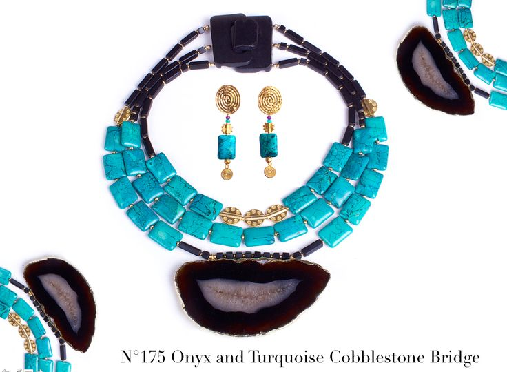 Three rows made with veiny and vibrant turquoise stones from the East Asia make this unique necklace so stunning. Wear this rich design, and declare yourself queen for the day. New LUKA Collection out now! $ AUD 299, free global shipping & returns. #statement necklaces, #designer jewellery, #unique jewellery, #handcrafted jewellery, # bespoke jewellery