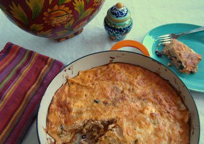 chilequiles is a combination of a frittata and a tortilla casserole