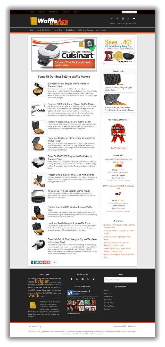 Waffle Maker Niche Website For Sale