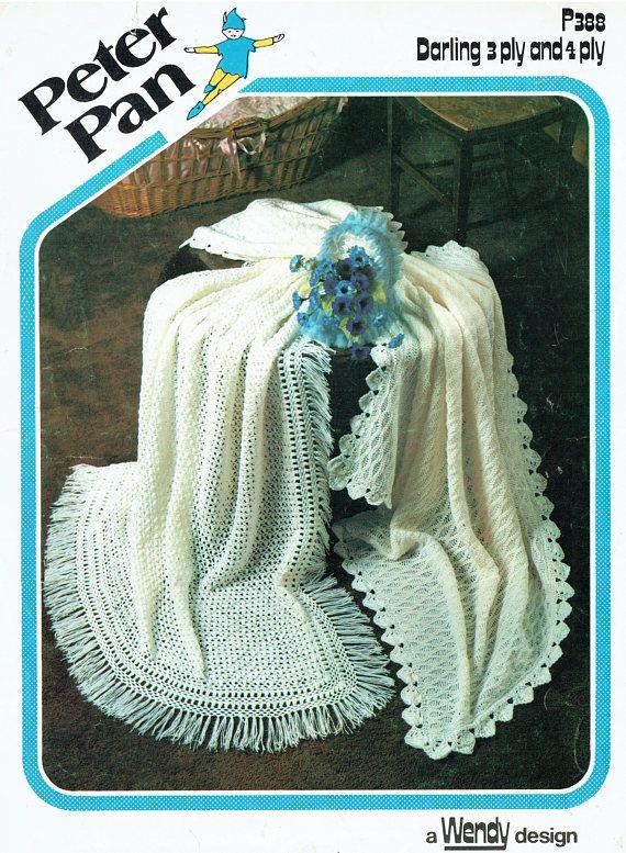 PDF Vintage Baby Christening Shawl Blanket Crochet & Knitting