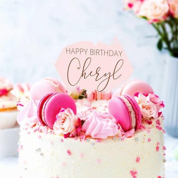 Birthday Hexagon Acrylic Cake Topper  Personalised text Birthday Gift Cake Decoration Keepsake Solid Laser Cut Acrylic Personalised Text