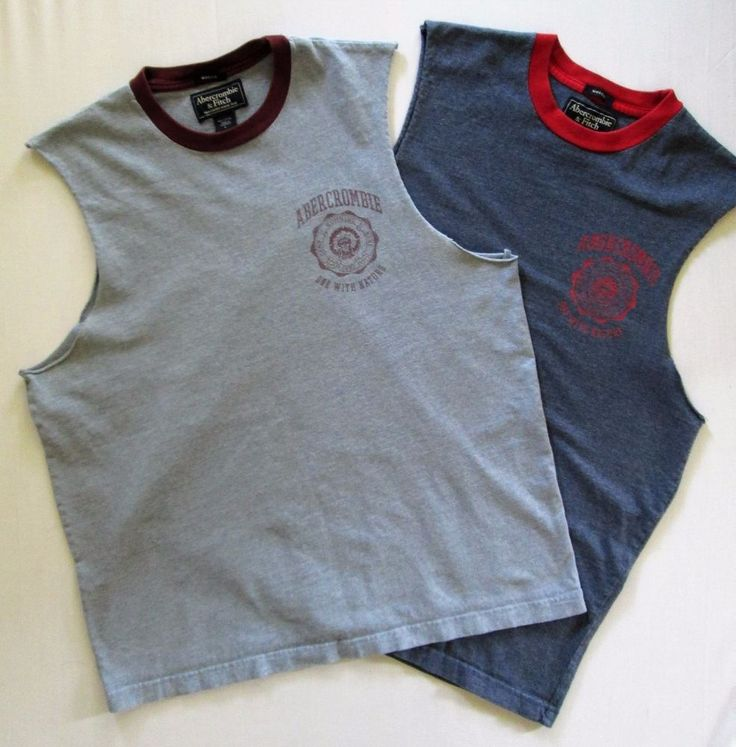2 pc. ABERCROMBIE & FITCH Men's LARGE Sleeveless T-SHIRTS 100% Cotton MUSCLE TEE #AbercrombieFitch #Tshirts