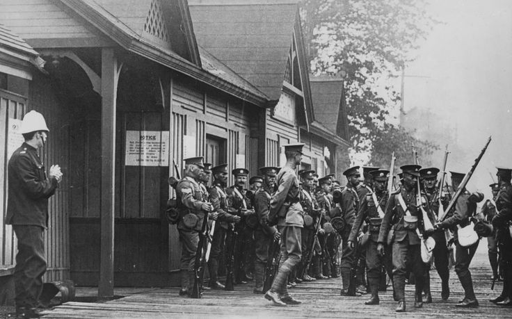 Soldiers from Toronto shipping out to fight in WWI. These young men were getting ready to catch a train on the old Grand Trunk Railway at the Exhibition Park station, in 1915.