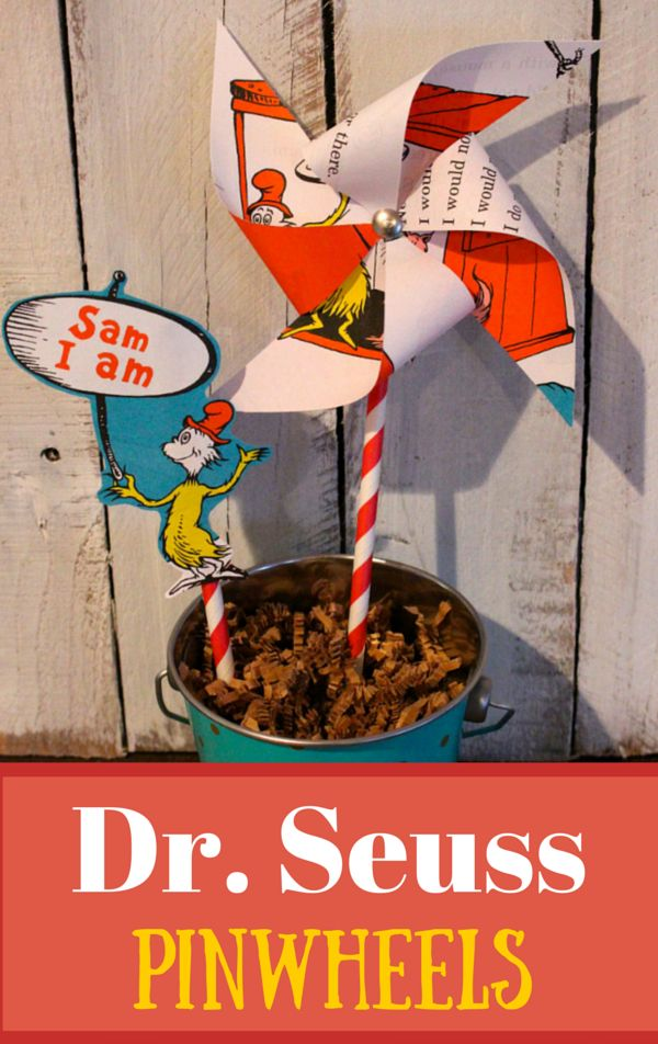 Easy Dr. Seuss Pinwheels perfect idea for a craft/activity to celebrate Dr. Seuss' birthday!