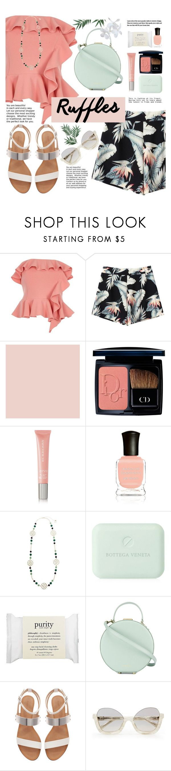 """peach and green ruffles"" by nineseventyseven ❤ liked on Polyvore featuring River Island, Christian Dior, Burberry, Deborah Lippmann, Erica Lyons, Bottega Veneta, philosophy, Tammy & Benjamin and Zara"