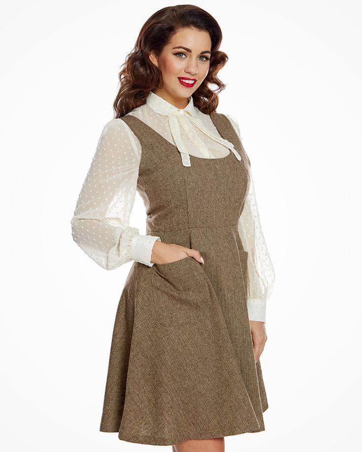 'Paulette' Brown Pinafore Dress   Vintage Inspired Fashion   Lindy Bop