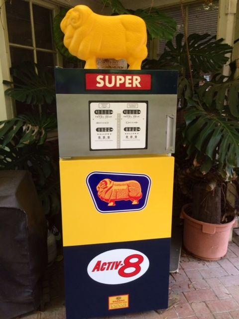 Fridge decorated as Golden Fleece petrol bowser/gas pump