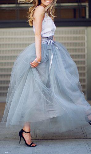 Flouncy tulle skirt