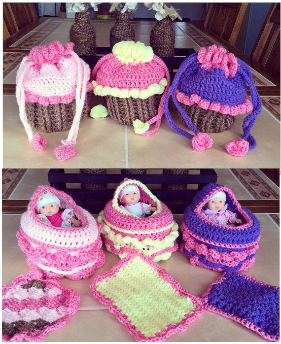 Crochet Cupcake Purse  Baby Cradle by LainetreeCreations on Etsy