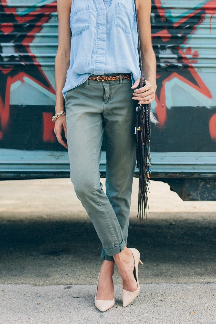 Army Green Boyfriend Pants — via @TheFoxandShe