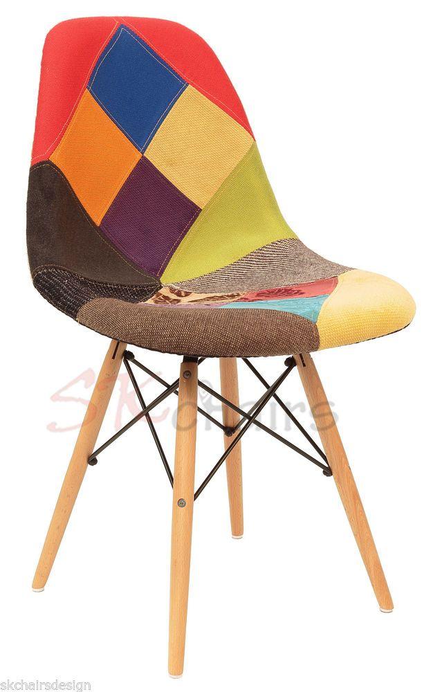 SK CHAIRS Replica Multi Colour.1 Eames DSW Eiffel Dining Chair & Natural Legs