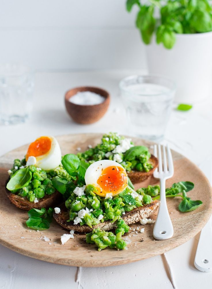 Sweet and zingy pea smash with goats cheese, soft boiled eggs and watercress.