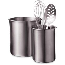 The Large Utensil Holder Features A Durable Stainless Steel Construction  And A Silvertone Finish. This Utensil Crock Is Perfect For Storing All Of  Your ...