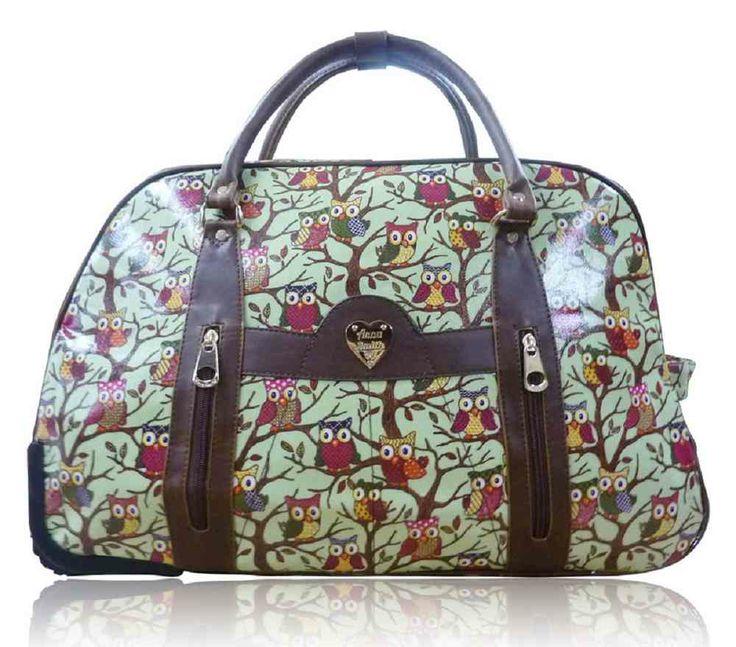 Mint Green Anna Smith Owl Print Weekend Bag - The Handbag Hut - £30