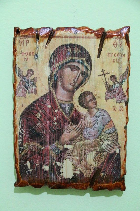 Mother Mary (blessed virgin Mary). Handmade in Hellas-Greece. Dimensions: 7,85 × 11,80 inches / 20 × 30 cm