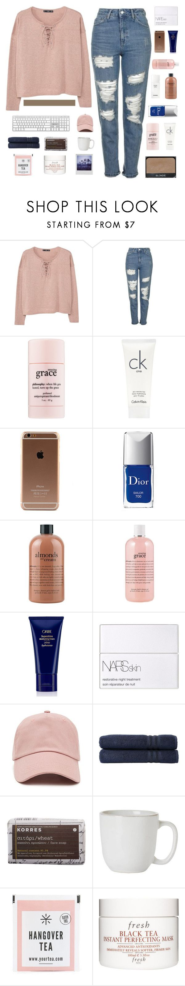 """""""taglist"""" by bvck-spvce ❤ liked on Polyvore featuring MANGO, Topshop, NARS Cosmetics, philosophy, Calvin Klein, Christian Dior, Chanel, Oribe, Forever 21 and Linum Home Textiles"""